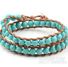 Two Rows Round Turquoise Beads Woven Wrap Bangle Bracelet with Metal Clasp
