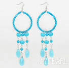 Wholesale beautiful turquoise drop shape earrings