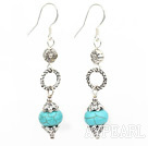 Lovely Blue Turquoise Loop Metal Cap Charm Dangle Earrings With Fish Hook
