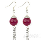 Lovely Red Agate Cap Charm Long Link Chains Dangle Earrings With Fish Hook