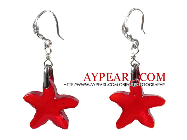 Fashion Style Red Starfish Crystal Dangle Earrings