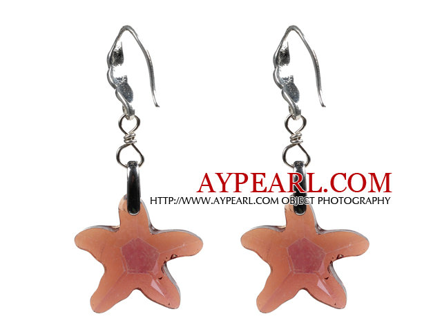 Fashion Style Reddish Brown Starfish Crystal Dangle Earrings