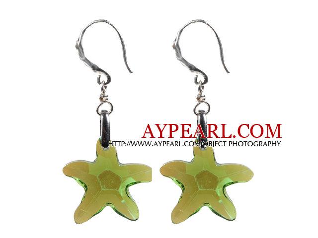 Fashion Style Green Starfish Crystal Dangle Earrings