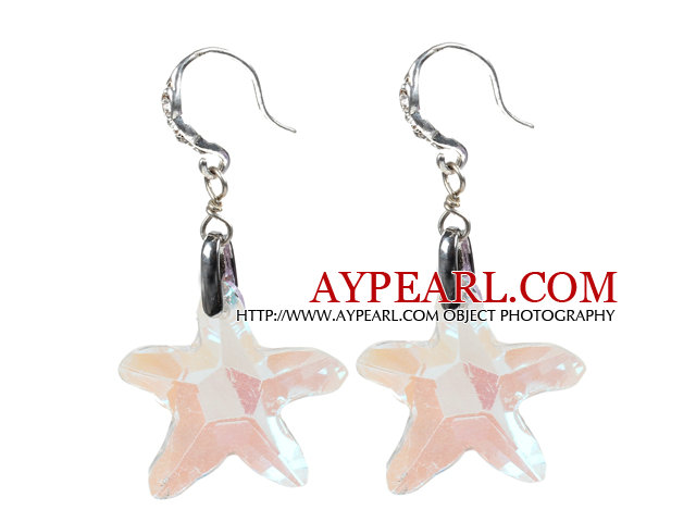 Fashion Style White Colorful Starfish Crystal Dangle Earrings