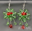 Wholesale Fashion Style Light Green Series Green Colorful Crystal Flower Earrings