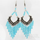 Wholesale Vintage Style Blue Color Faceted Crystal Earrings