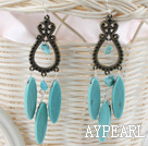 Classic Vintage Style Oval Shape Blue Turquoise Dangle Earrigns With Loop Copper Charm