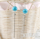 lovely long style 12mm turquoise ball earrings