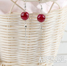 Wholesale long style faceted red agate earrings