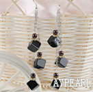 Wholesale long style black agate earrings