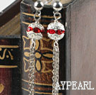 dangling style red rhinestone long earrings
