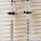 dangling style purple red rhinestone long earrings
