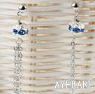 dangling style blue rhinestone long earrings