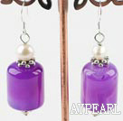 Lovely White Freshwater Pearl And Purple Cylinder Shape Agate Dangle Earrings