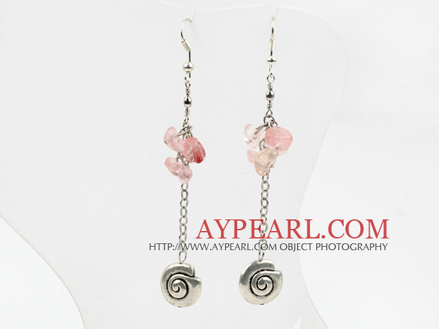 Fashion Long Chain Loop Style Cherry Quzrtz Chips And Metal Charm Earrings