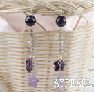 Wholesale long style pearl and amethyst earrings