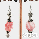 Wholesale Lovely Rose Flower Shape Cherry Quartz And Metal Charm Dangle Earrings