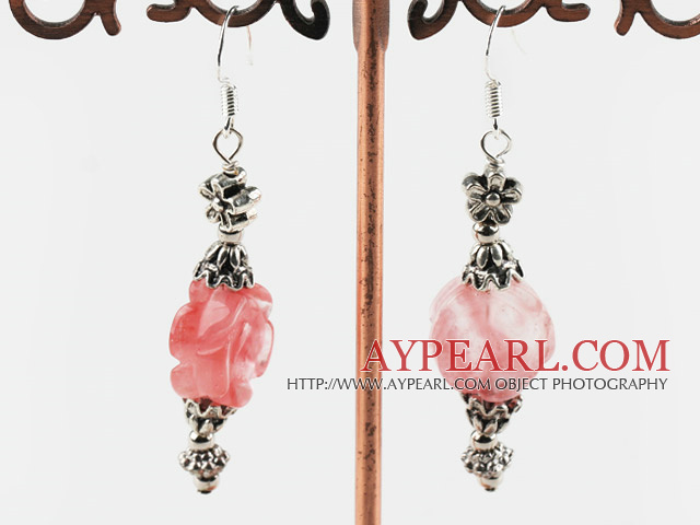 Lovely Rose Flower Shape Cherry Quartz And Metal Charm Dangle Earrings