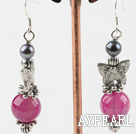 long style butterfly charm black pearl and pink agate earrings