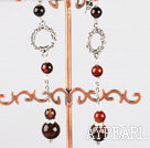 Wholesale long dangling style fancy agate earrings with rhinestone