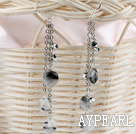 Wholesale long style black rutilated quartz earrings