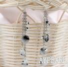 Wholesale long style black rutilated quartz earrings
