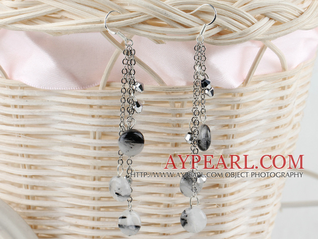 long style black rutilated quartz earrings
