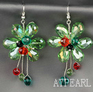 Fashion Style Apple Green Series Green Crystal Blume Ohrringe