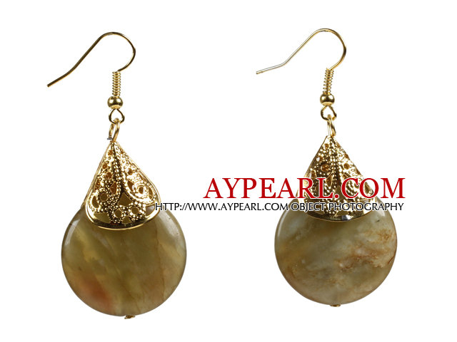 Simple Classic Round Shape Three Colored Jade Dangle Earrings With Golden Hooks