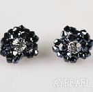 new style gorgeous black crystal flower earrings 