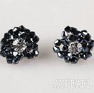 Wholesale new style gorgeous black crystal flower earrings