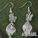 Pretty Irregular Pink Agate And Butterfly Charm Dangle Earrings