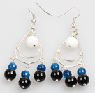 Wholesale Summer Style White Porcelain Bead Blue Black Agate Dangle Earrings