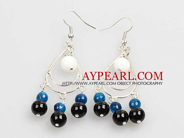Summer Style White Porcelain Bead Blue Black Agate Dangle Earrings