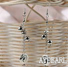 Simple Long Chain Loop Style Ccb Silver Like Beads And Tibet Silver Earrings