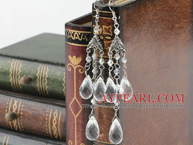 stunning drop shape clear crystal earrings