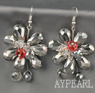 Fashion Style Gray sarjan Gray Crystal Flower korvakorut