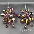 Fashion Style Brown Series Brown and Colorful Crystal Flower Earrings