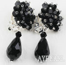 Big Style Black Faceted Drop Crystal Clip Earrings