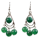 Wholesale Summer Style Green Agate Beads Dangle Earrings