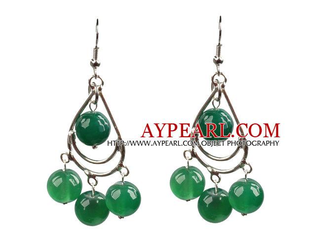 Summer Style Green Agate Beads Dangle Earrings