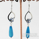 Wholesale long dangle style fancy blue agate earrings with rhinestone