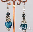 Wholesale black pearl and blue agate earrings with flower charms