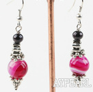 black pearl and pink agate earrings with flower charms