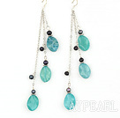Wholesale long style blue jasper and balck pearl earrings