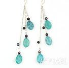 Wholesale long style blue jasper and balck pearl earrings