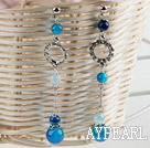 Wholesale hot long dangling style blue agate earrings with rhinestone