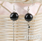 Wholesale flashy 12mm black agate ball long earrings