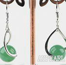 Lovely Simple Style 10Mm Round Aventurine Balll Drop Earrings With Twisted Loop Charm
