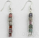 Indian agate and tibet silver long earrigns